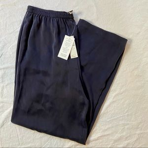 Eileen Fisher Silk Charmeuse pants navy L NWT